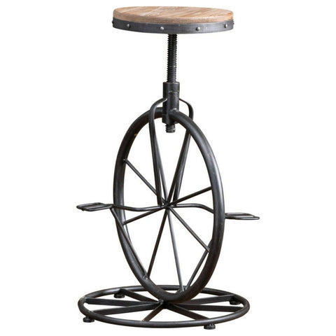 GDF Studio Charles Bicycle Wheel Adjustable Bar Stool