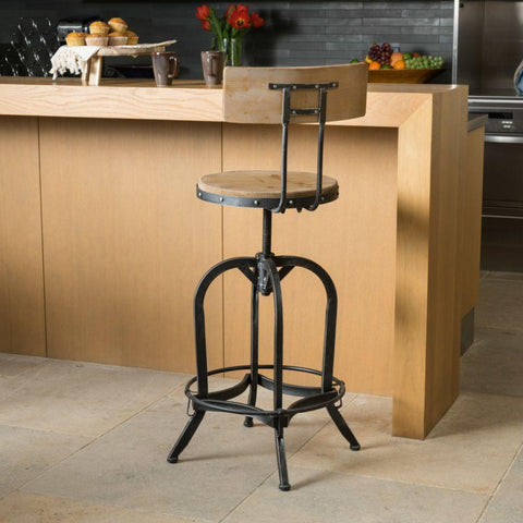 GDF Studio Modern Industrial Design Adjustable Seat Height Bar/Counter Stool