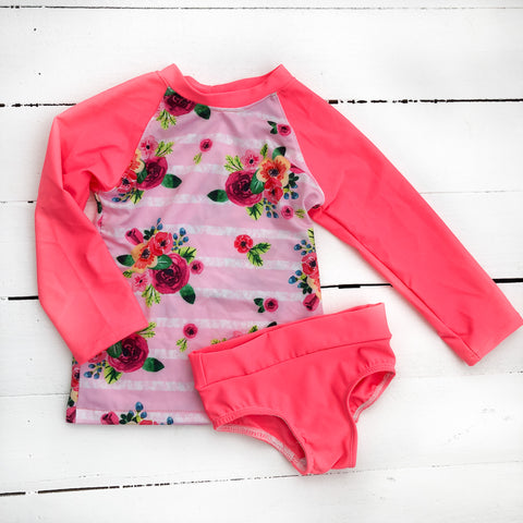 RTS 2t Stripe Floral Rash Guard Set