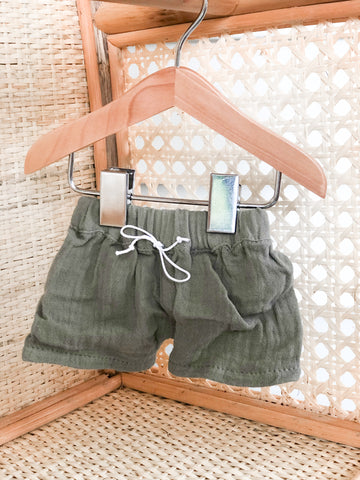 Olive Green Gauze Shorts - DOLL