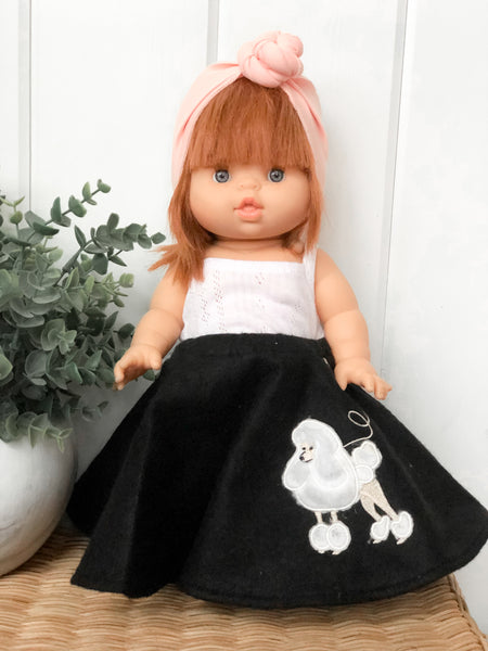 Black Poodle Skirt - Doll