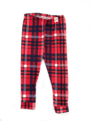 6 Months Red & Navy Plaid Leggings