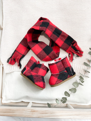 Buffalo Plaid Boots + Scarf Set- Doll