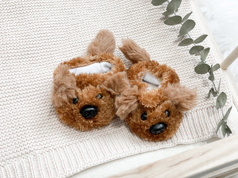Chocolate Brown Puppy Slippers- DOLL