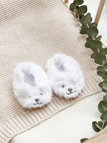 White Bear Slippers- Doll