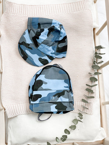 Blue Camo Baseball Cap + Backpack - DOLL