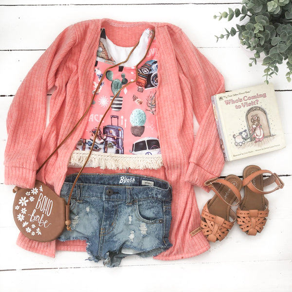 Cardigan/Sweater- Coral