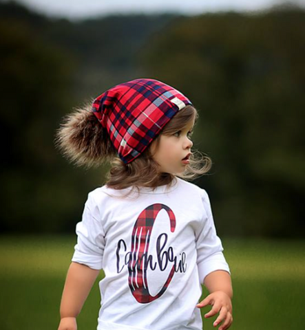 Red & Navy Plaid Beanie