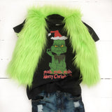 RTS 3-6 Mos Fur Vest- Grinch Inspired