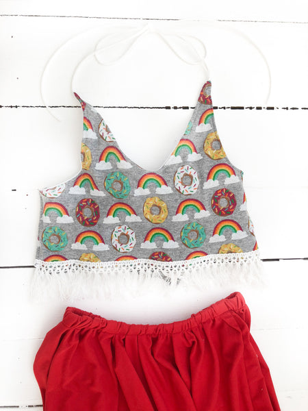 Donut & Rainbow Fringe Crop Top