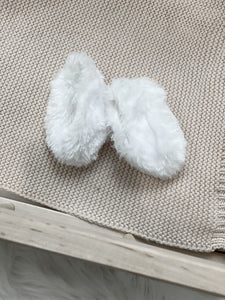 White Furry Slippers- Doll