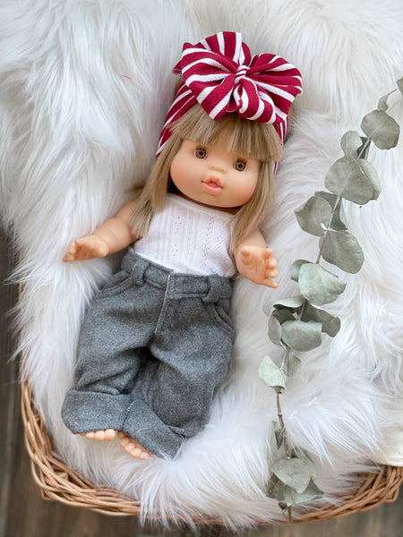 Cranberry Stripes Bow - DOLL