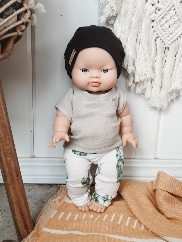 Solid Black Beanie - Doll