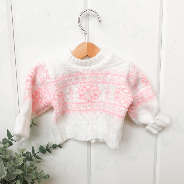Pink Snowflake Sweater - Doll