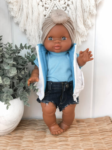 White/Blue Vest - Doll