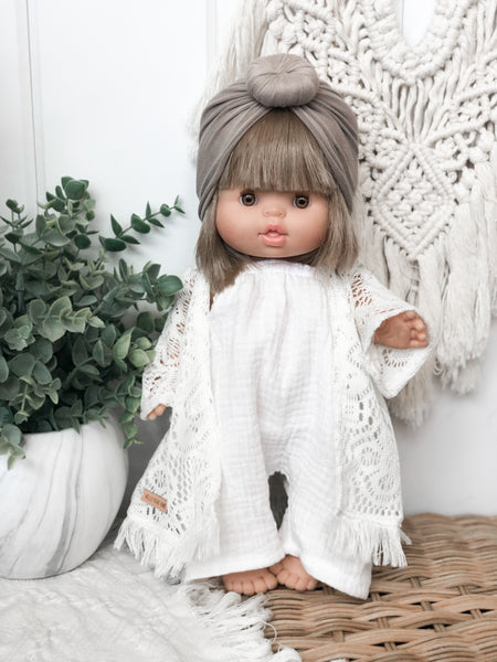 Tan Beachy Gauze Romper - Doll