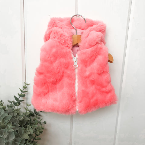 Furry Coral Vest - Doll