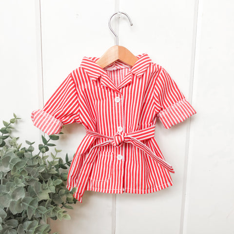 Red Stripe Pajama Dress- Doll