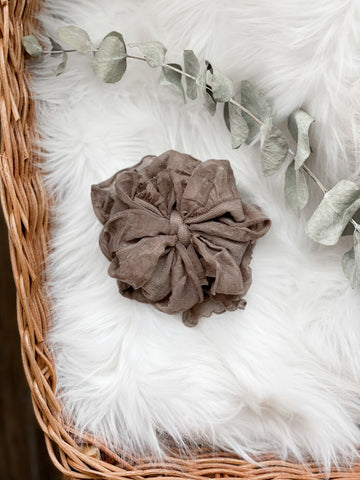 Taupe Ruffle Bow - DOLL
