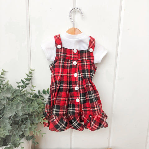 Plaid School Dress- Doll