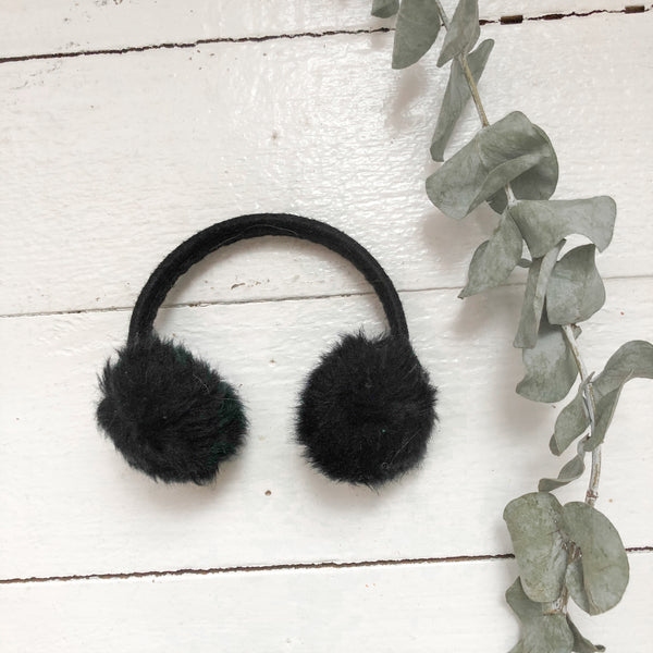 Black Winter Ear Muffs - Doll