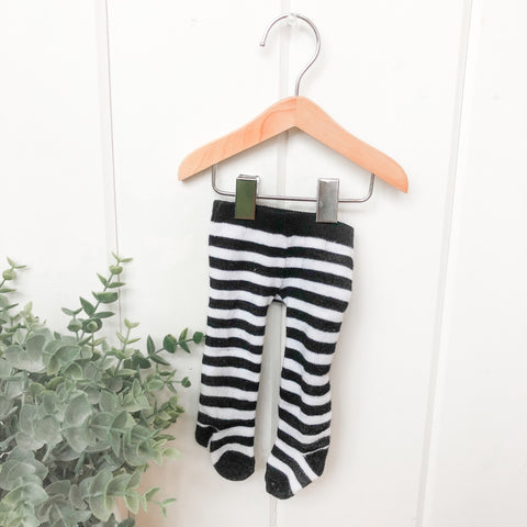 B&W Stripe Tights - Doll