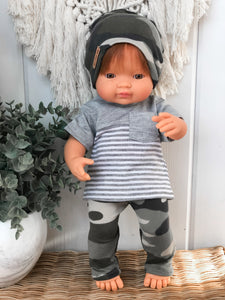 Grey Stripe Tee - Doll