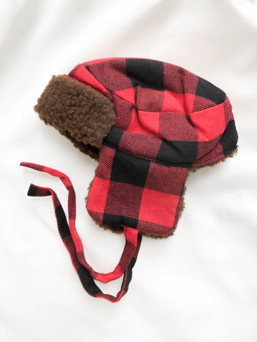 Black/Red Gingham Plaid Trapper Hat - Doll