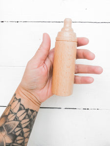 Wooden Baby Doll Bottle