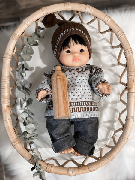 Grey/Brown Sweater + Hat - Doll