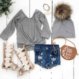 Sweater- Grey Front-Tie