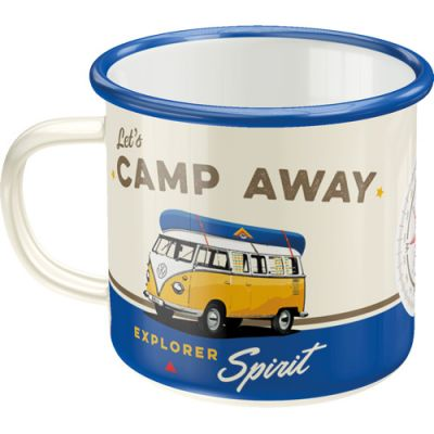 VW Bulli - Lets Camp Away - Emaille Tasse