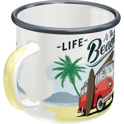 VW Bulli - at the Beach - Emaille Tasse