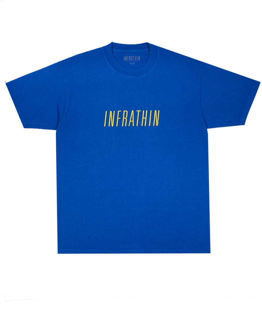 BLUE T-SHIRT WITH YELLOW INFRATHIN LOGO