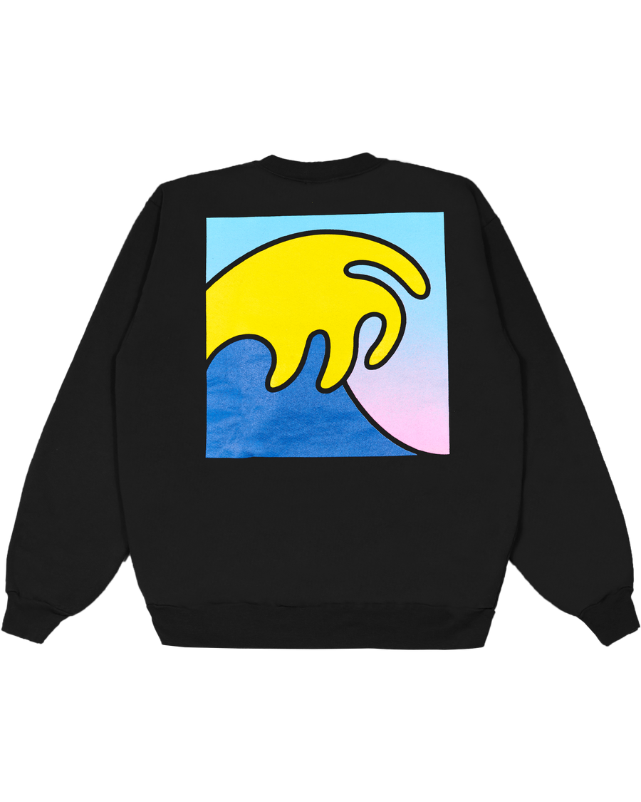 BLACK CREWNECK WITH GRADIENT LOGO AND WAVE