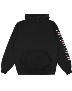BLACK HOODED SWEAT SHIRT WITH PUFFY GRADIENT LOGO