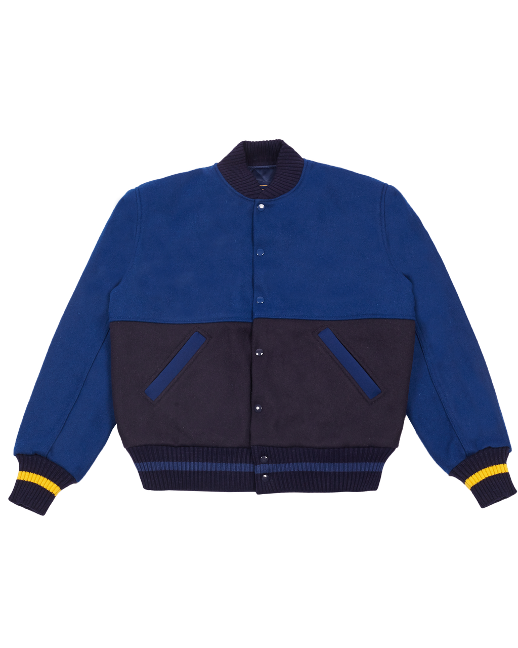 BLUE AND NAVY WOOL VARSITY JACKET