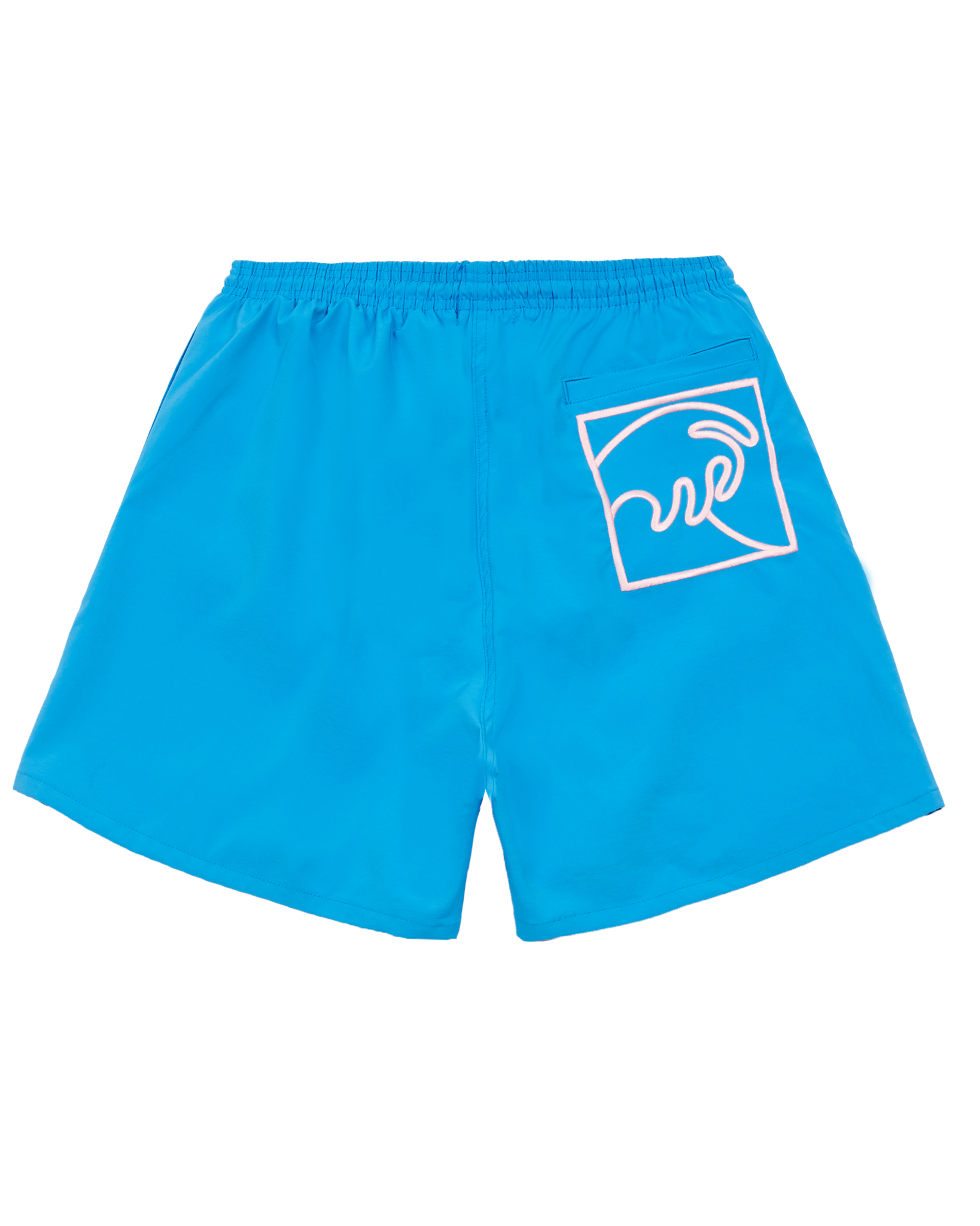 PACIFIC BLUE SWIM SHORT WITH LIGHT PINK WAVE