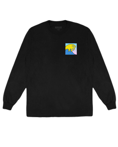 BLACK LONG SLEEVE WITH GRADIENT WAVE AND LOGO