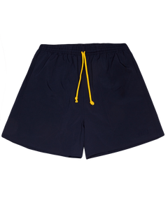 NAVY SWIM SHORT WITH YELLOW WAVE