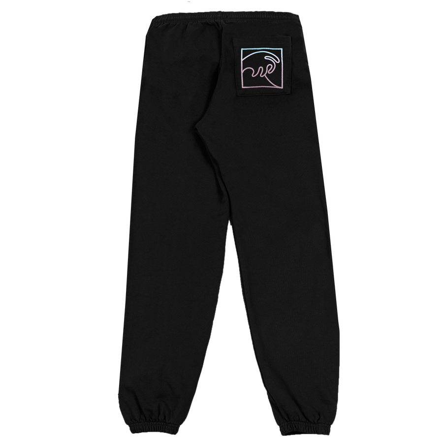 BLACK SWEAT PANT WITH PUFFY WAVE