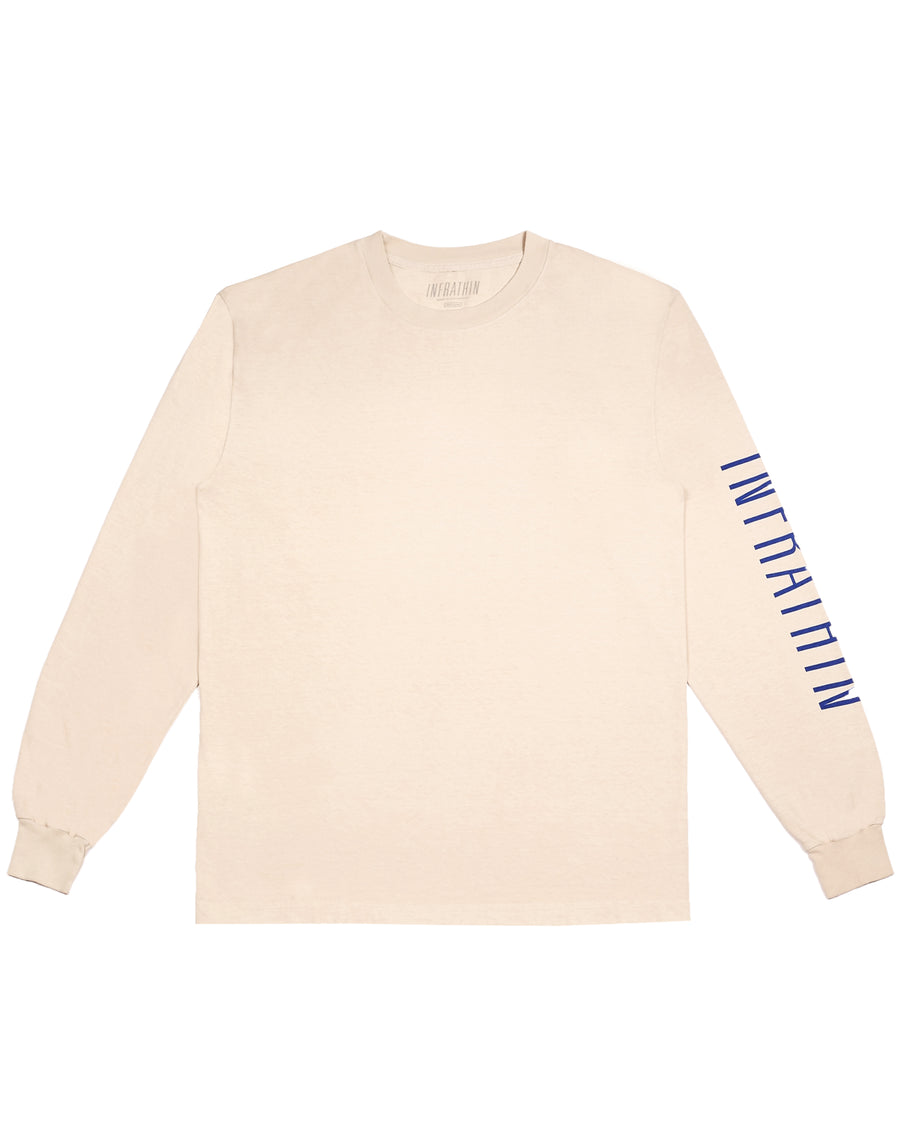CEMENT LONG SLEEVE WITH BLUE LOGO AND WAVE
