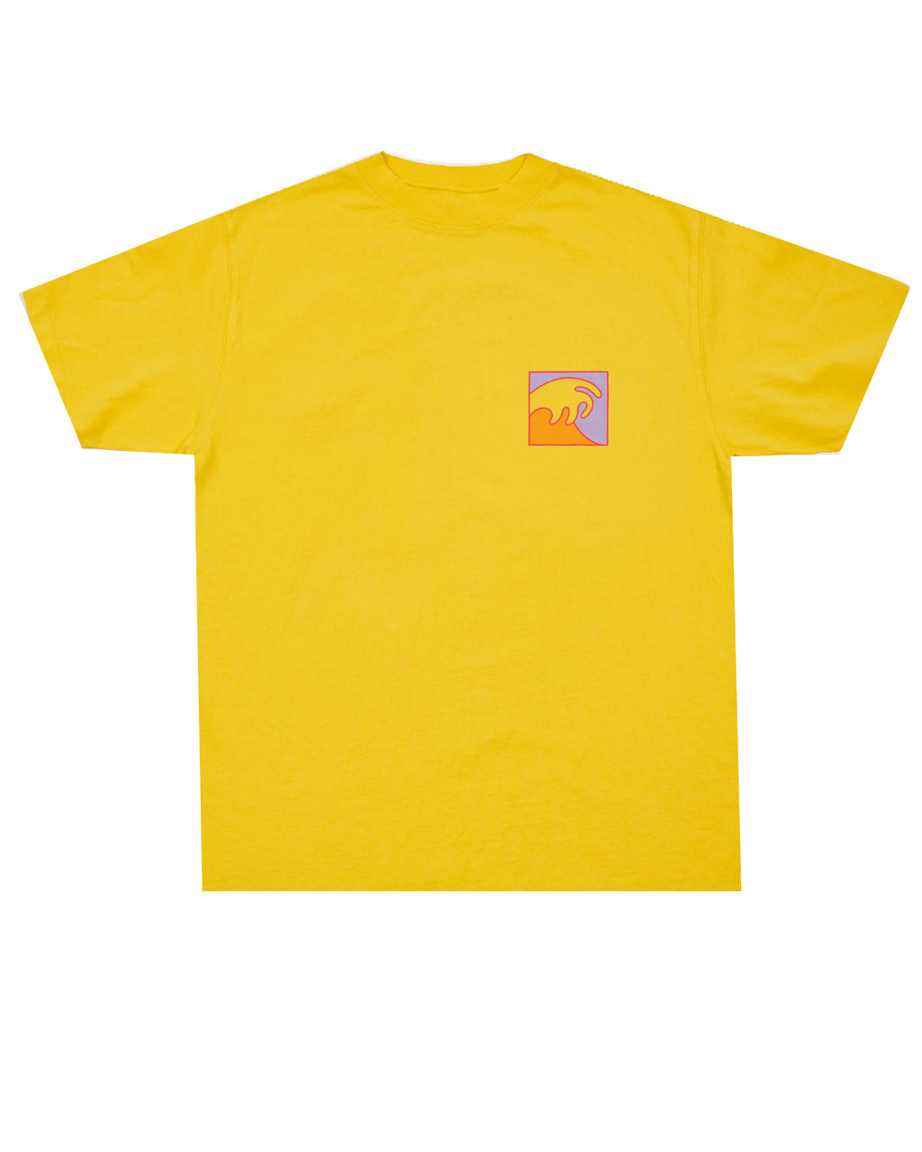 YELLOW T-SHIRT WITH MULTICOLOR WAVE