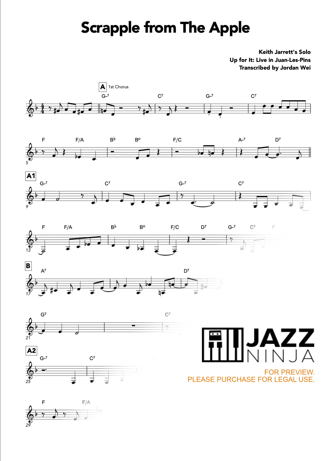 Keith Jarrett Scrapple From The Apple Full Score Jazzninja