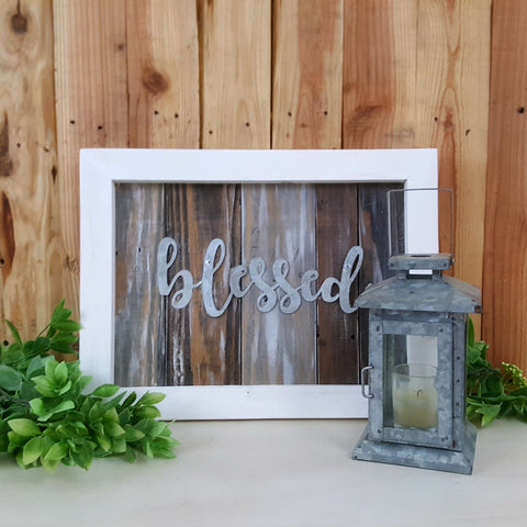 Framed Pallet Sign with Metal  | Blessed