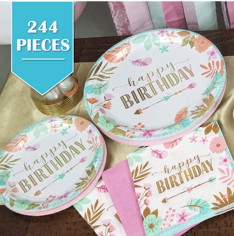 244 Piece | Boho Birthday Party Pack - Service for 24