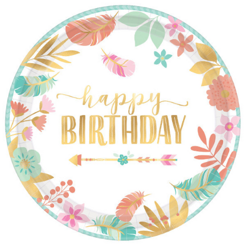 "8 Count | 10.5"" Boho Birthday Plate"