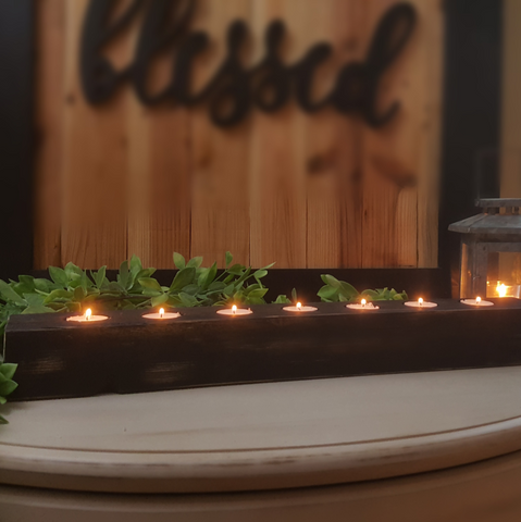 Tea Light Centerpiece | Brushed Ebony