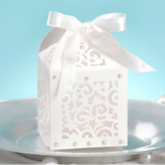 David Tutera Favor Box With Ribbon Tie - Cream - 12 Pieces