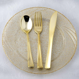 24 Count | Gold Plastic Cutlery Set